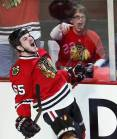 Chicago Blackhawks' Andrew Shaw celebrates his first period goal against the Los Angeles Kings in Game 2 of their NHL Western Conference finals playoff hockey game in Chicago